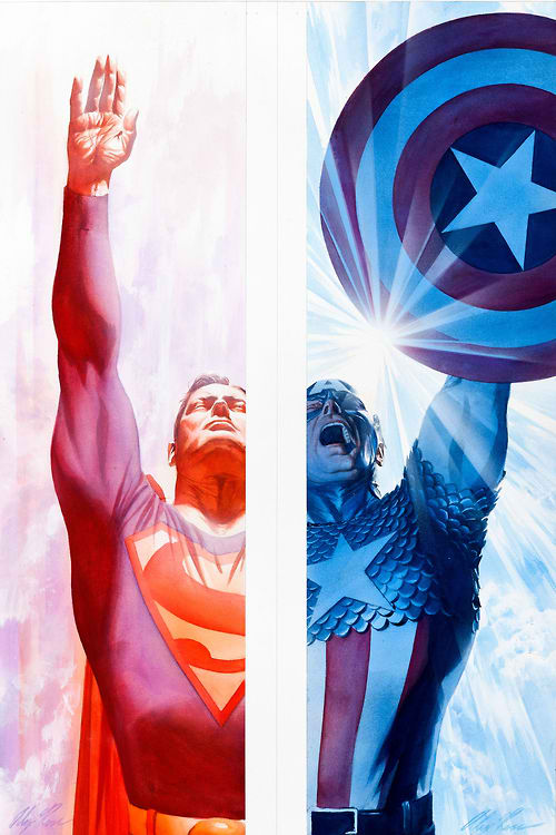 Napowrimo 2013 days 13 14 superman and captain america the artwork by alex ross voltagebd Gallery