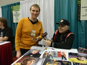 Me and the surprisingly goofy Walter Koenig. He was kind enough to show off my novel.