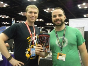"Here I am with fellow kaiju fan Tom Tancredi after he purchased ""Destroyer."""