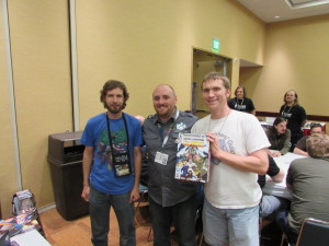 Eric and I meeting Adam Rebottaro, lead artist for Sentinels of the Multiverse.