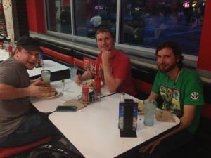 The three of us at Steak 'n' Shake.