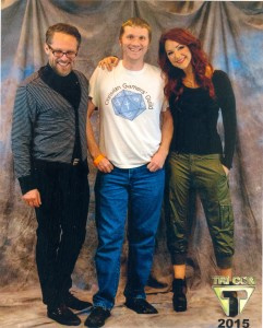 Me with Chuck Huber and Michele Specht (who accidentally cosplayed Kim Possible).