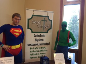 Eric (right) and I (left) as Martian Manhunter and Superman, respectively.